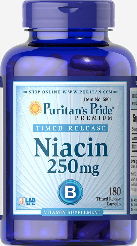 Ниацин, Niacin 250 mg Timed Release, Puritan's Pride, 180 капсул