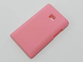 Чехол накладка для LG Optimus L3 E400, E405 пластиковый матовый, розовый