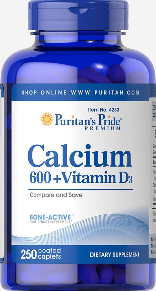 Кальций карбонат с витамином Д, Calcium Carbonate 600 mg + Vitamin D 250 IU, Puritan's Pride, 250 таблеток