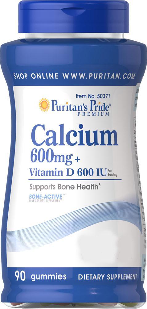 Кальций + Вит.Д, Calcium 600mg + Vitamin D 600 IU Gummies, Puritan's Pride, 90 жевательных конфет
