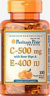 Витамины С и Е с шиповником, Vitamin C & E 500 mg/400 IU with Rose Hips, Puritan's Pride, 100 капсул