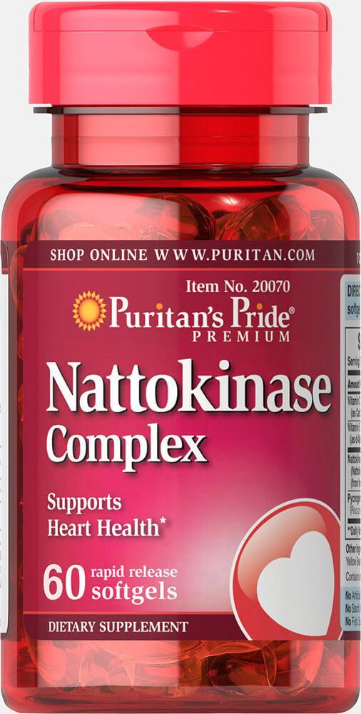 Наттокиназа, Nattokinase 100 mg Complex, Puritan's Pride, 60 капсул