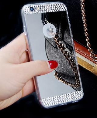 Зеркальный серебряный силиконовый чехол со стразами для Iphone 6+/6S+ 5.5дюймов