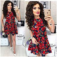 Женское летнее короткое платье принт розы