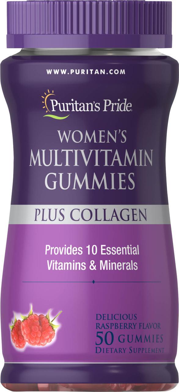 Витамины для женщин, Women Multi Gummy Plus Collagen, Puritan's Pride, 50 жевательных конфет