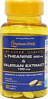Л-Тианин с экстрактом валерианы, L-Theanine 200 mg & Valerian Extract 100 mg, Puritan's Pride, 30 таблеток