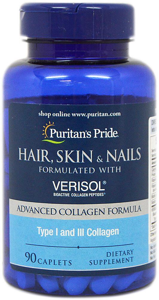 Волосы, кожа и ногти, Hair, Skin and Nails formulated with VERISOL®, Puritan's Pride, 90 таблеток