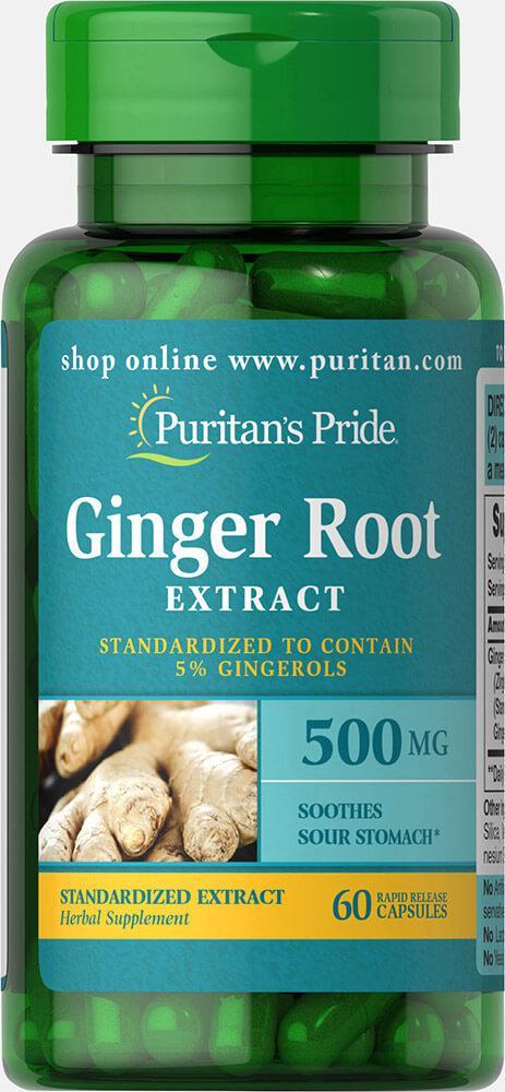 Корень имбиря, Ginger Root Standardized Extract 500 mg, Puritan's Pride, 60 капсул