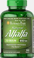 Люцерна, Natural Alfalfa 650 mg, Puritan's Pride, 300 таблеток