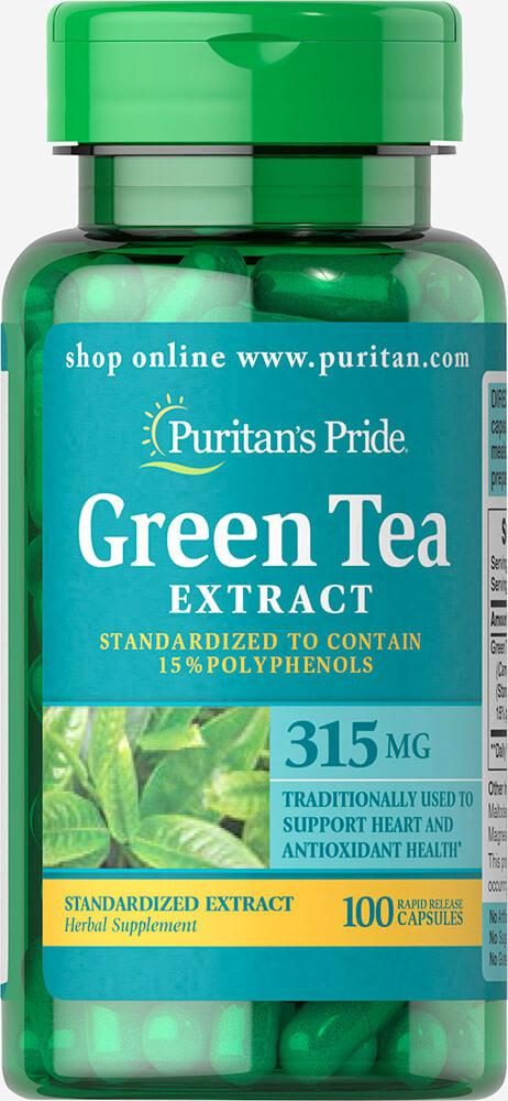 Экстракт Зеленого чая, Green Tea Standardized Extract 315 mg, Puritan's Pride, 100 капсул