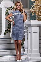 Красивое платье свободное миди кружева короткий рукав из хлопка с разрезами синее