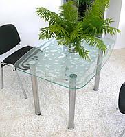 """Стол кухонный стеклянный на хромированных ножках Maxi DT DX 1060/800 """"парус"""" стекло, хром, фото 1"""