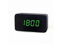 Настольные часы VST-863-1 (Черные) с зеленой подсветкой