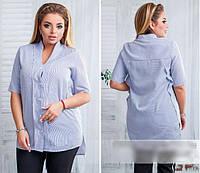 Летняя рубашка-туника однотонная, с 46-60 размер
