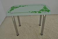 """Стол кухонный стеклянный на хромированных ножках Maxi DT DS 1000/600 """"плющ"""" стекло, хром"""