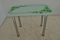 """Стол кухонный стеклянный на хромированных ножках Maxi DT DS 1000/600 """"плющ"""" стекло, хром, фото 1"""