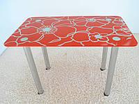 """Стол кухонный стеклянный на хромированных ножках Maxi DT R 1000/600 """"красные маки"""" стекло, хром, фото 1"""