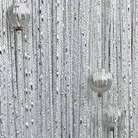 Шторы нити Дождь с Бусинами №1 Белый / Серебро