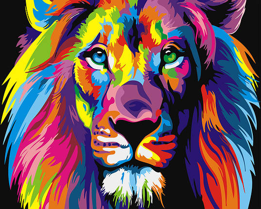 "Картина по номерам ""Радужный лев"", фото 2"