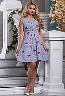 Летнее платье в полоску пышная юбка без рукав бело синее