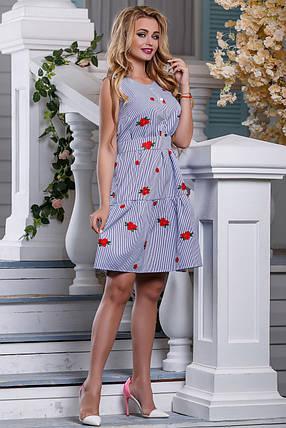 Летнее платье в полоску пышная юбка без рукав бело синее, фото 2