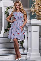 Летнее платье в полоску пышная юбка без рукав бело синее, фото 3