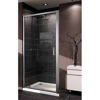 X1 дверь распашная для ниши и боковой стенки 100см  (профиль гл хром, стекло прозр), фото 2