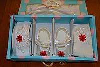 Красивый нарядный набор для девочки на крещение или праздник( пинетки, повязка и колготки )Турция.