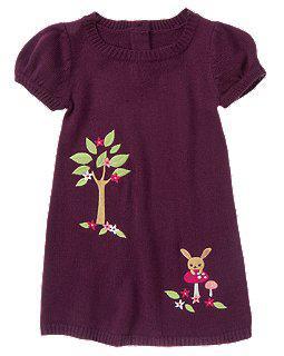 Вязанное платье с вышивкой дерево и зайчик на грибочке (Размер 3Т) Crazy8 (США)