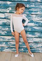 Купальник для танцев и гимнастики со вставкой из стрейч-сетки белый, фото 1