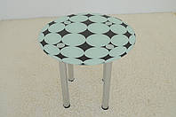 """Стол обеденный стеклянный на хромированных ножках Maxi DT K 900 """"джокер"""" стекло, хром, фото 1"""