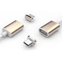 Магнітний кабель USB 2.0/Micro, 1m, 2А, індикатор заряду, Gold, Blister