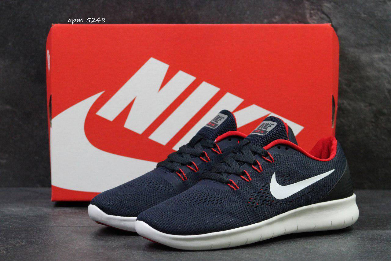 a5bf5bec4a2a Мужские кроссовки летние Nike Free Run 3.0 сетка,темно синие с белым ...