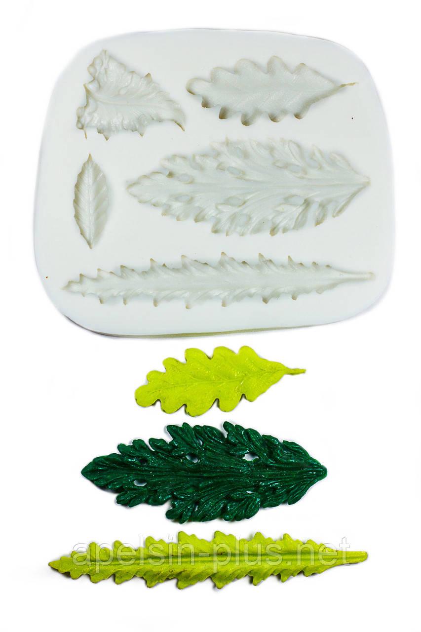"""Молд силиконовый  для мастики """"Листья ассорти"""" 9,4 см 7,6 см"""