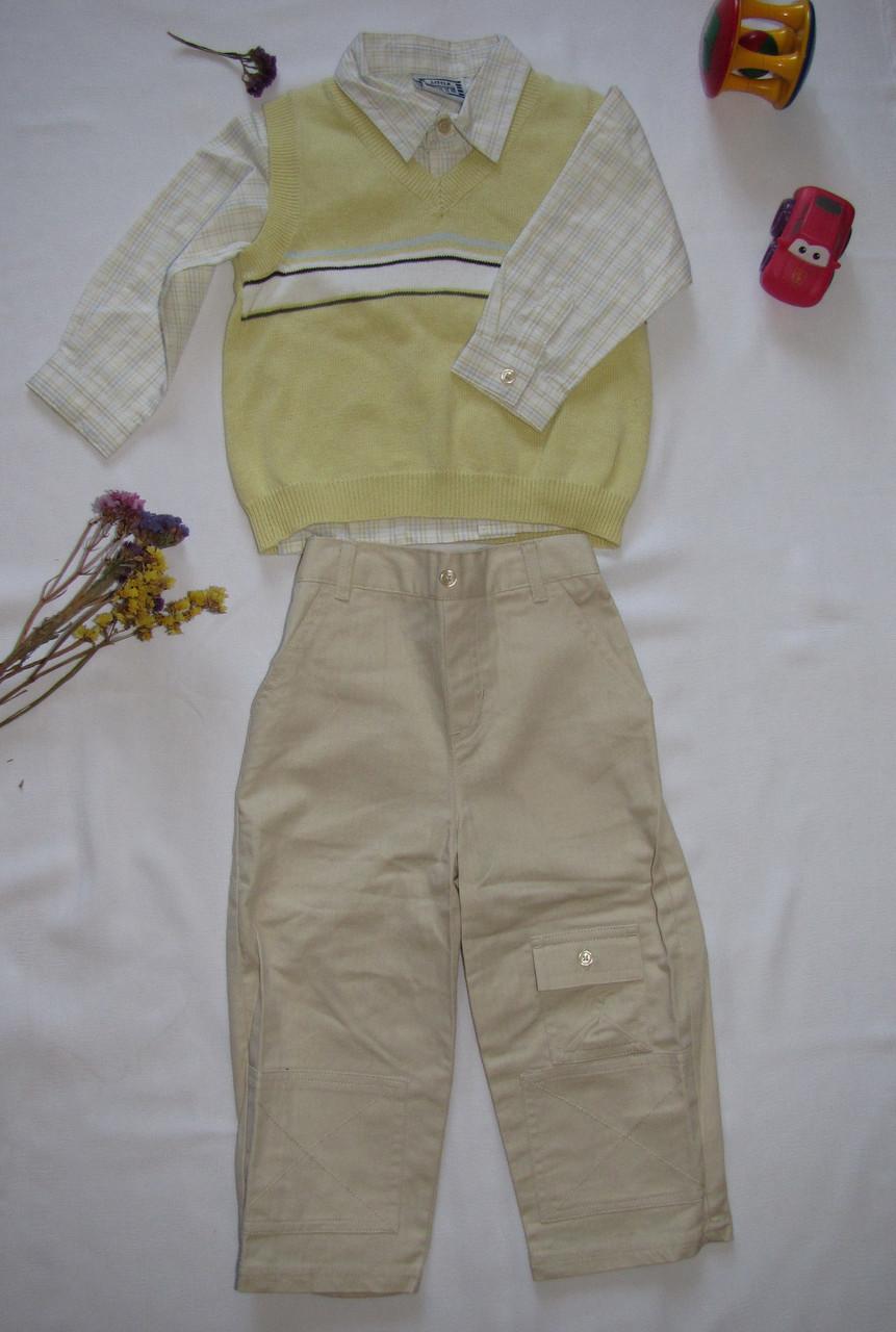 Костюм рубашка брюки жилет Little Guys рост 92 см желтый+белый+бежевый 07132