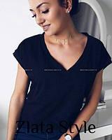 Черная женская легкая футболка оверсайз базовая с V-образным вырезом однотонная