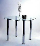 """Стол обеденный стеклянный на хромированных ножках Maxi DT RG 900/800 """"грани"""" стекло, хром"""