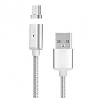 Магнитный кабель USB 2.0/Type-C, 1m, 2А, индикатор заряда, Silver, Blister