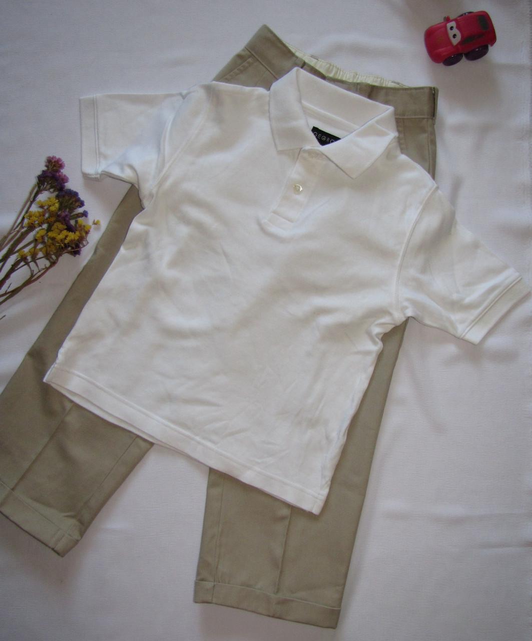 Костюм футболка и брюки George рост 110 см белый+бежевый 07131