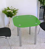 """Стол обеденный стеклянный на хромированных ножках Maxi DT DXX 800/750 """"зеленый"""" стекло, хром"""
