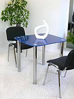 """Стол обеденный стеклянный на хромированных ножках Maxi DT Е 800/750 """"синий"""" стекло, хром"""