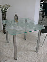 """Стол обеденный стеклянный на хромированных ножках Maxi DT R 800/700 """"белая ночь"""" стекло, хром"""