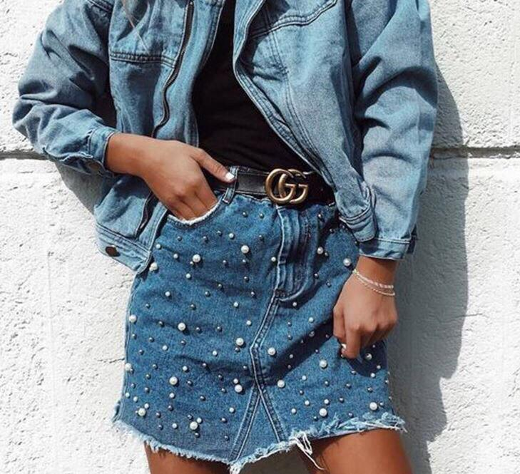 Джинсовые юбки с жемчугом без пояса
