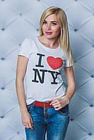 Футболка женская с печатью NY белая, фото 1