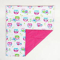 Детское хлопковое одеяло BabySoon Яркие совушки 80х85 см цвет розовый