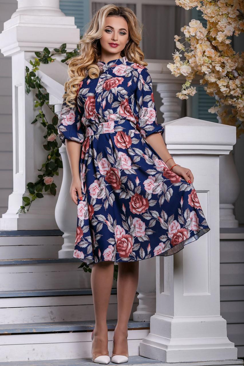 Красивое платье на лето миди юбка клеш рукав три четверти принт темно синее
