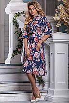 Красивое платье на лето миди юбка клеш рукав три четверти принт темно синее, фото 3