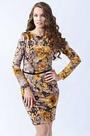 Женское трикотажное платье желтого цвета с цветочным рисунком, длинный рукав. Модель 434 Mirabelle