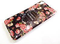 Чехол силиконовый с рисунком цветы для Huawei Y6 II / Y6-2 / Y6 2 темный