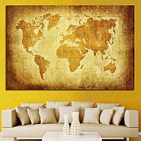Картина - Карта Мира в винтажном стиле, для декора офиса